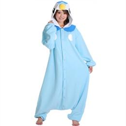 Anime Pocket Monster Blue Pinguino Piplup Cosplay con cappuccio Pigiama con cappuccio Adulto Donne Uomini Unisex Fleece Onesies Costumi del partito di Halloween gratis cheap blue fleece pajamas da pigiami a pelo blu fornitori