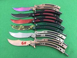Wholesale Fire Training - 10 models butterfly balisong CSGO knife Cross Fire training magic jilt knife Free-swinging Knife xmas gift for man 1pcs