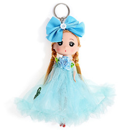 Wholesale Yarn Dolls - 12PCS LOT 18cm Single Yarn  Veil Wedding Bag Ornaments Cartoon Girl Key Ring Keychain Baby Doll Toy Gifts Style Random