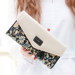 Wholesale Baroque Phone - 2016 New European Baroque Floral 5 Colour Tri-fold Ladies Purse Envelope Folk Style Bags Cash Purses Delicate Casual Lady Wallets