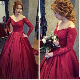 Wholesale Hot Red Evening Dresses - Hot Sale Red Long Sleeve Lace Evening Dresses Off-Shoulder Covered Button Elastic Satin Celebrity Red Carpet Dresses Evening Wear Customized