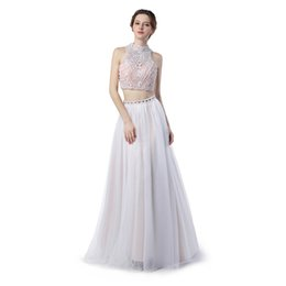 Wholesale One Shoulder Beaded Crystal Dresses - Formal Evening Gowns Dresses Vestido De Festa Longo Para Casamento 2017 Sexy Backless Two Pieces Prom Dresses
