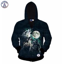 Wholesale Wolf Sweatshirt Xl - Hip Hop jacket for men women 3d sweatshirt print 3 wolf Howl to the moon casual hoody with zipper hooded hoodies