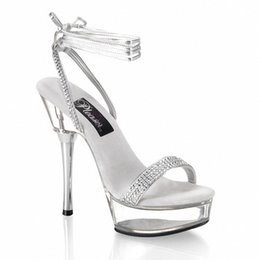 Wholesale Bride Heel Sandals - 5 Inch Clear High Heels Platform Full Transparent Fashion Sexy Sandals 15cm High-Heeled Shoes The Bride Noble Rhinestone Sandals