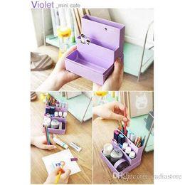 Wholesale Paper Board Storage Box - DIY Fold Board Paper Organizer Storage Box Makeup Cosmetic Stationery Decor E00153 SMAD