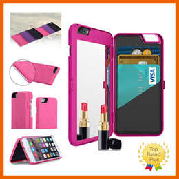 Wholesale Iphone Flip Up - Luxury Make Up Flip Card Wallet PU Leather Mirror Phone Case Cellphone Protective Cover For iPhone 6 6s Plus