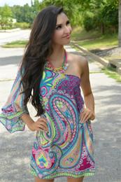 Wholesale One Long Sleeve Mini Dress - 2016 New Summer Dress Women Ethnic Print Oblique Shoulder Sexy Dress Women Long Sleeve Off the Shoulder Dashiki Dress Plus Size