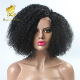Wholesale American Curls Hair - Indian Hair 250% Density Glueless Full Lace Human Hair Wigs Kinky Curl African American Glueless Lace Front Human Hair Wigs Fast Shipping