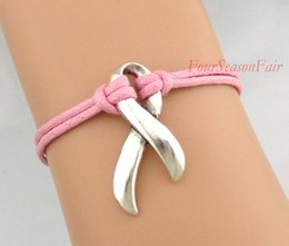 Wholesale Custom Infinity Love Faith Hope Breast Cancer Awareness Ribbon Bracelet Autism Awareness Pink Ribbon Bangles Adjustable Drop Shipping