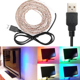 Argentina 5V USB 5050SMD RGB Tiras LED a prueba de agua 60LED por metro + Controlador RGB para computadora portátil TV Decoración de fondo Iluminación LED flexible Suministro