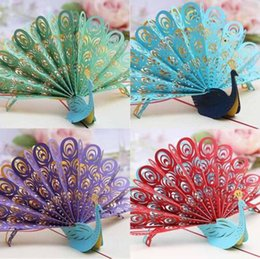 Wholesale Greeting Cards Supplies - 3D Pop Up Greeting Card Diy Peacock Birthday Easter Anniversary Mothers Day Valentines Thanks invitation card party supplies customs logo