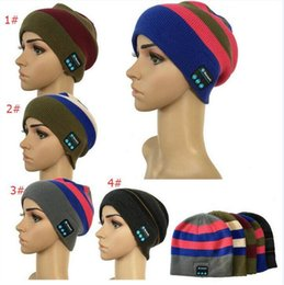 Wholesale Wholesalers For Boys Ties - Bluetooth Music Hat winter Warm Beanie Cap With Stereo Headphone Headset Speaker Wireless Microphone Headgear Knitted Cap for iphone 7 plus