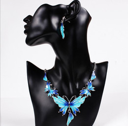 fashion crystal butterfly Promo Codes - Fashion Crystal Jewelry Set Butterfly Enamel Jewelry Statement Necklace Set Earrings for Women Jewelry Sets QD