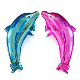 Wholesale balloon animals supplies - 20pcs lot Dolphin foil balloons Colorful sea animals ballons birthday party decorations child toys children's day supplies ball