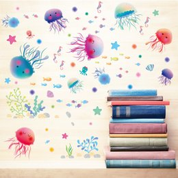 Wholesale Poster World - Jellyfish Underwater World Kids Room Nursery Wall Decor Bathroom Shower Room Wall Decal Sticker Home Decor Wall Applique Poster