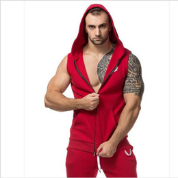 Wholesale Men S Vest Hoodies - Wholesale-Men Hooded Sleeveless Undershirt Cotton Sport Vest Waistcoat Sleeveless Tank top Mens Workout Fitness Hoodies Sweatshirts Gym
