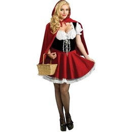 Wholesale Sexy Little Red Riding - Sexy Womens Fairy Tale Little Red Riding Hood Costume For Halloween Cosplay Uniforms Plus Size S-4XL