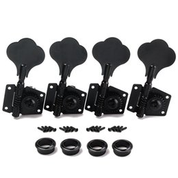 Wholesale Tuning Machine Heads For Guitars - 4R Bass Guitar Machine Heads Tuners Open Geared Black Tuning pegs keys For Fender Bass-free Shipping