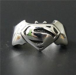 Wholesale New Superman Man Steel - Size 8-13 Fashion Jewelry Cool Hot New Band Superman Bat Man Ring 316L Stainless steel Polishing Biker ring