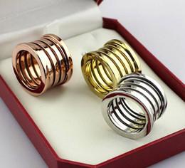 Anéis largos para mulheres on-line-Moda de Largura de Aço Inoxidável Titanium Multiwall 5 camadas Anéis, Mulheres / Homens Ouro Amarelo / Rosa de Ouro / Prata de Metal Cores Jóias