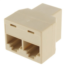 Wholesale Lan Connector Socket - 8P8C RJ45 for CAT5 Ethernet Cable LAN Port 1 to 2 Socket Splitter 1x2 Connector Adapter Coupler Tee Joint
