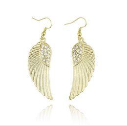 Wholesale Earring Hooks Silver Gold - 100% Alloy Hook Earrings Women Fashion Angel Wings Earrings Crystal Design Gold Silver Earrings Girls Dream Earring