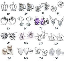 2019 couronnes en strass en gros 925 argent strass boucles d'oreilles cristal naturel de la mode en gros petits bijoux en argent pour les femmes coeur couronne stud boucle Livraison gratuite couronnes en strass en gros pas cher
