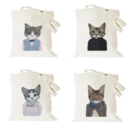 Wholesale Bag Red Cat - 2016 New Fresh Cute Cat Printing Canvas Simple Student Shoulder Bag Women Totes Cloth Bags Black White by DHL EMS Free
