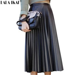 Wholesale Straight Long Skirts Women - Women Long Pleated Leather Skirt Solid Retro Maxi Skirts Female Artificial Leather Piano Pleated Skirt Woman Jupe Femme QWH00244
