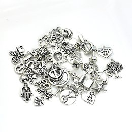 Wholesale European Heart Necklace - 120pcs Mixed Tibetan Silver Plated Charm Fashion Pendants Jewelry DIY Jewelry Making Craft Handmade Fit European Bracelet Necklace 120styles