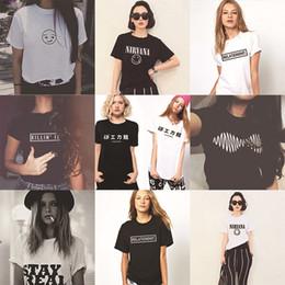 Wholesale Tshirt Logos Wholesale - Wholesale-Promotion Women T-shirt Nirvana Arctic Monkeys Smiley Emoji Letter Logo Print T-shirt Woman Womens Tshirt Girls Harajuku Cheap