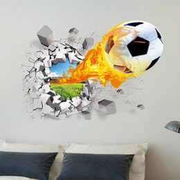 Wholesale Fire Bathroom - World Cup soccer fans lover 3D printed fire football wall decals for Football club decoration wall stickers free shipping