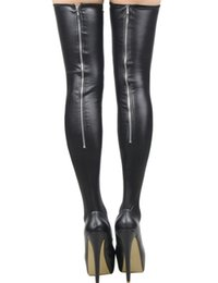 Wholesale Leather Leg Socks - High Quality Women Sexy Faux Leather Slimming Leg Zipper Stocking Fetish Pole Dance Dress Accessories Stretch Netherstock Socks