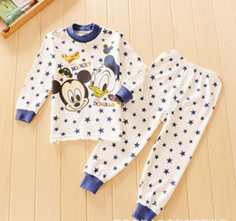 Wholesale Donald Duck Suit - Long sleeve children girls star cartoon cotton pajamas se Donald Duck baby autumn clothes 2 piece sleeping suits clothing wholesale