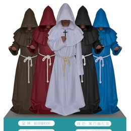 Wholesale Unisex Chiffon Robes - The medieval monks monks robe Halloween wizard priest christians church the priest apparel cosplay for men and women free shipping