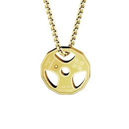 Wholesale Gold Plated Barbell - Wholesale 10Pcs lot 2017 Men Choker Hip Hop Jewelry Pendant Fitness Exercise Barbell Weight Plate Titanium Steel Gold Chains Choker Necklace