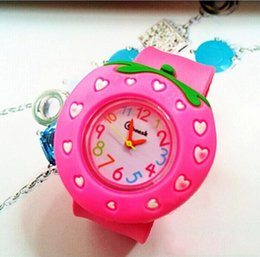 Wholesale Snap Watches For Kids - Cute Silicone Jelly China Watches For Kids Christmas Birthday Gifts Strawberries Snap Slap Sport Watches Wristwatches 2016 New