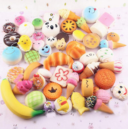 Wholesale Rose Pendent - Mini Squishy Soft Bread Squishy Soft Panda Bread Cake Phone Straps charms Slow Rising Phone Charms pendent KKA2473