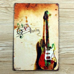 Wholesale Guitar For Metal Music - Wholesale- New 2015 Metal TIN SIGNS Guitar and Music Retro Poster Vintage metal painting for Home Bar Cafe Pub wall Decor 20x30cm
