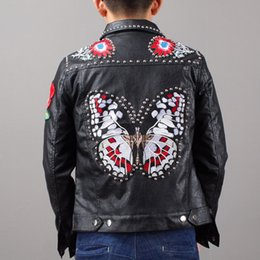 Wholesale Leather Sheepskin Jacket Black - 2018 Spring Autumn Genuine Leather Tanned SheepSkin Thick Jacket Heavy Embroidery Rivet Butterfly Square Collar Short Outwear Coat 4XL