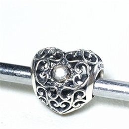 Wholesale Crystal Glass Rocks - S925 Sterling Silver April Signature Heart Charm Bead with Rock Crystal Fits European Pandora Jewelry Bracelets Necklaces & Pendant