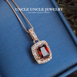 Wholesale Rose Ruby Necklace - Woman Artificial Red Ruby Luxury Pendant Necklace Rose Gold Plated Perfect Cut Rectangle Crystal Lady Pendant Necklace Wholesale