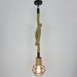 Wholesale vintage hanging light fixtures - VALLKIN Vintage Rope Pendant Light Hanging Lamp Lighting Fixtures for Study Hotel Room Loft Indoor Home Deco