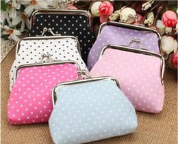 Wholesale Cotton Tartan Fabric Wholesale - Polka Dot Coin Purse Zero Purses Canvas Key holder Key Bag Mini Wallet Gifts Bag Clutch Handbag Mini Purse