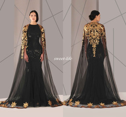Wholesale Triangle Cloak - Black Arabic Muslim Evening Dresses Tulle Cloak Gold and Black Sequins Crew Neck 2016 Plus Size Mermaid Formal Wear Long Pageant Prom Dress
