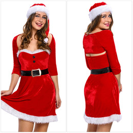 Wholesale Women Halloween Costumes Santa - Sexy Halloween Costume for Women 3 PCS Set Red Strapless Winter Dresses Ms Santa Christmas Gift for Female Vestido De Festa
