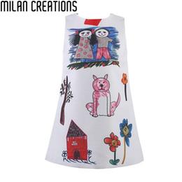 2019 красные белые полосатые дети платье Milan Creations Baby Girls Dress Princess Costume 2016 Марка Детская одежда девушки платья Scrawl печати Детские платья для девочек