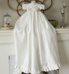 Wholesale Cheap Boys Christening Gowns - 2016 Baby Christening Dresses O-neck Short Sleeve Taffeta Long Birthday Party Baptism Gowns for Children Custom Made Plus Size Cheap