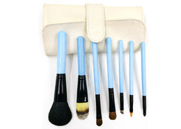 Wholesale Lighted Professional Make Up Case - 7pcs Makeup Brushes Set With PU Leather Case Three Colors Make Up Brush Set Professional Cosmetic Brush Tools Kit Free Shipping