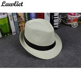 Wholesale Ladies Straw Fedora - Wholesale- Summer Straw Hats Women Man Fedora Panama Hat Solid Ribbon Lady Travelling Sun Hat Trilby Gangster Cap Jazz Hat Y39